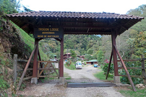 Entrance to Trogon Lodge in the Talamanca Mountains.