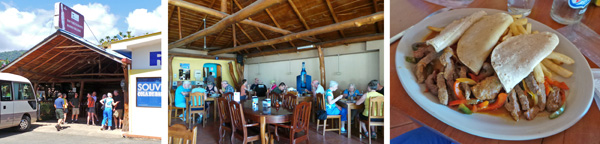 The group heads into Marino Ballena Restaurant (L). Enjoying lunch inside the open air restaurant (C) including a plate of fajitas (R).