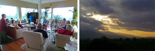 The group gathered in the living room to watch a video (L) as the sun sets behind the mountains across the valley (R).
