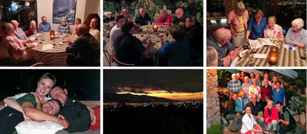 Top row: Enjoying the farewell dinner at two tables (L and C) and later Ileana shares a book about oncidium orchids (R). Bottom row: Kari hangs out with an exhausted driver Ricardo and guide Gustavo after dinner (L) while the city lights twinkle across the valley as dusk falls (C). The group photo with Ms. Terán (R).