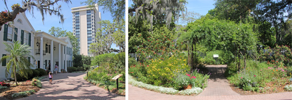 he Christy Payne Mansion (L) and the butterfly garden in front of it (R).