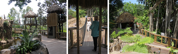 Elevated walkways (L and C) take visitors in the Childrens Garden into the trees and to explore the area (R).