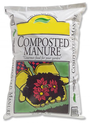 Many brands of composed cow manure are available commercially.