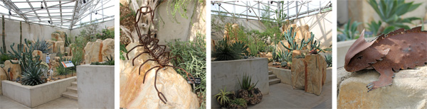 Inside the Kleberg Desert Pavilion, with scorpion (LC) and horny toad (R) sculptures.