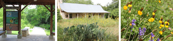 Entrance to the Hill Country Trail (L); the Auld House from across the meadow (C) and prairie flowers (R).