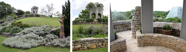 The hill in the middle of the garden (L), with the tower (C), that provides views of the garden (R).