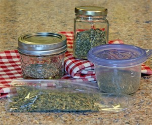 Store dried herbs in airtight containers.