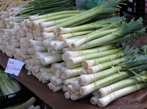 Leeks are common at farmers markets in the fall.