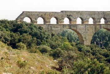 Characteristic habitat of rosemary, southern France near Pont du Gard.