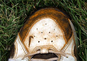 Orange dust on shoes means the grass is infected with rust.