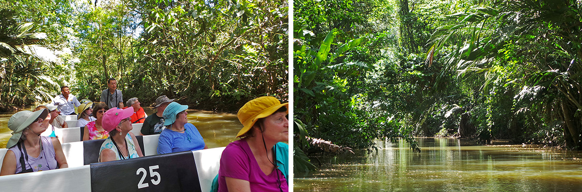 The group in the small boat (L) plying the canals of Tortuguero (R).