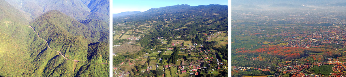 Braulio Carrillo National Park from the air (L), agriculture on the outskirts of the metropolitan area of San Jose (C), and blooming poró trees (Erythrina poepiggiana) amid the coffee plantations around the city (R).