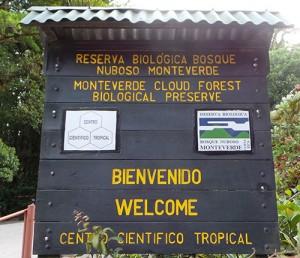 Sign at Monteverde Cloud Forest Biological Preserve.