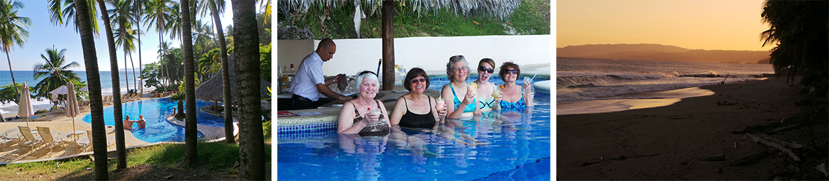 The pool at Tango Mar, with the ocean beyond (L), Maureen, Anne, Susan, Kari, and Linda cool off at the swim-up bar (C), late afternoon on the beach (R).