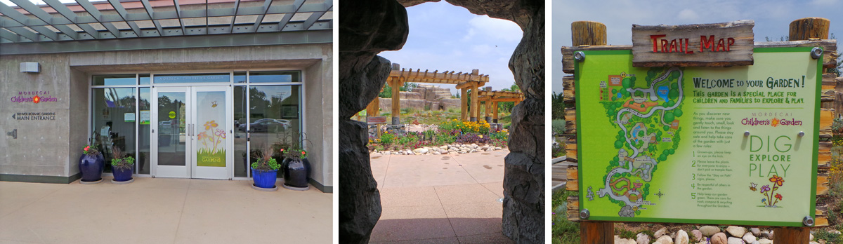 "The entrance to the Children's Garden (L) leads through a ""cave"" (C) to the trails (R)."