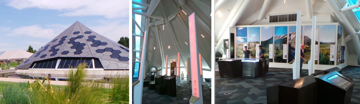 Inside the Science Pyramid (L), interactive displays (C and R) teach visitors about steppe biomes.