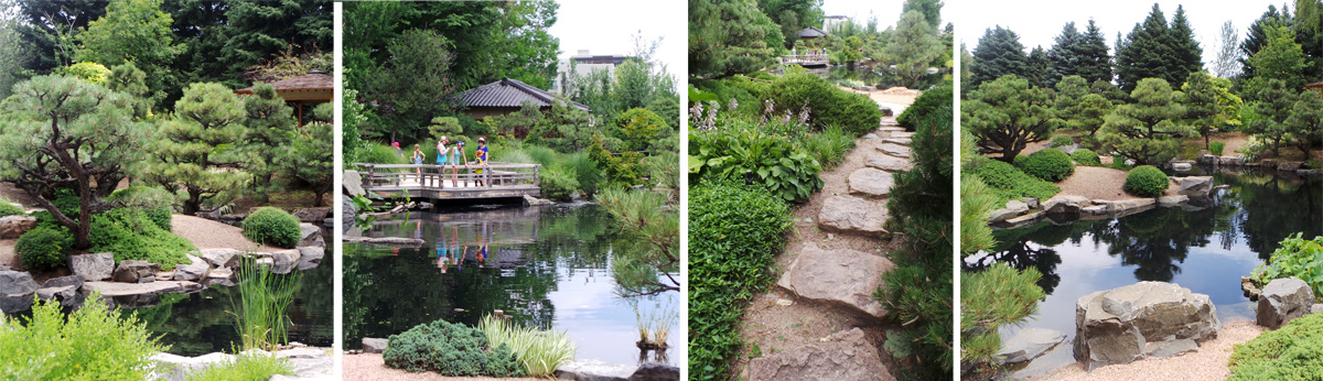 The Japanese Garden includes old pines (L), a central water feature (LC and R), and large stones as paths (RC) and in decorative placements (R).