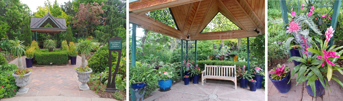 The Victorian Secret Garden overflows with colorful tropical-looking plants, with tender ones in containers (R).