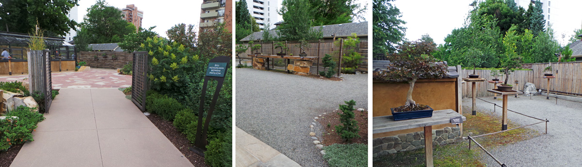 The Bill Hosokawa Bonsai Pavillion (L) has indoor and outdoor display areas (C) filled with bonsai specimens (R)