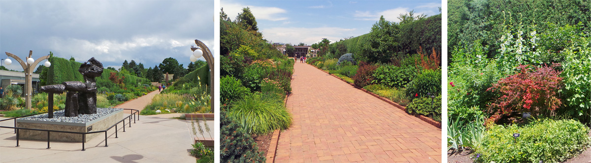 Leading from the entry area to the Romantic Gardens (L), the long brick walkway of the O'Fallon Perennial Walk (C) is lined with a perennials in a tapestry of colors and textures (R).