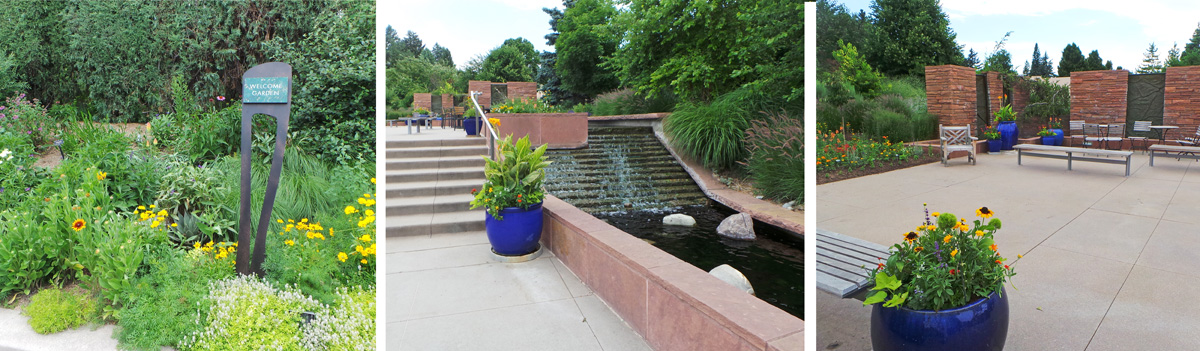 At the main entrance to the DBG, the Welcome Garden includes plants (L), water (C), and gathering spaces (R).