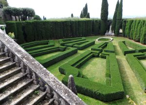 The geometric garden at Villa La Foce.