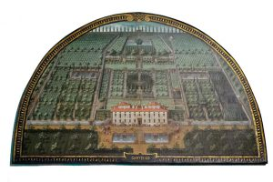 Lunette of the Villa di Castello estate as depicted by painter Justus Utens in 1599. with great lawn, fish ponds, gardens, cypress maze, Grotto of the Animals, and extensive orchards.