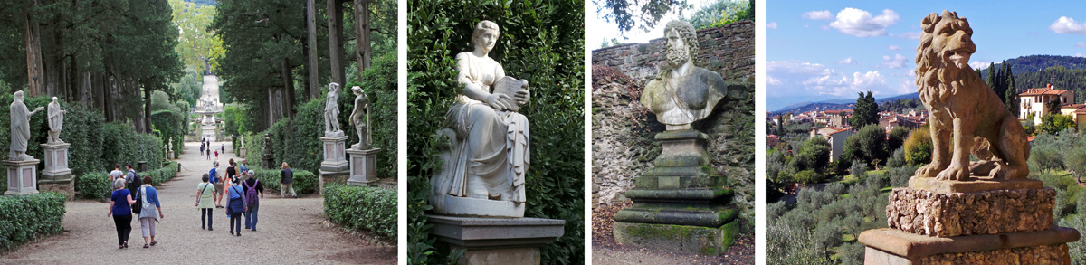 Statues of gods and heroes (L to RC at Boboli Gardens) are common, with animals, such as lions (R) less common.