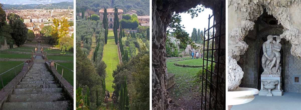 Looking down the baroque stairway from the Belvedere loggia at Giardino Bardini (L); looking down from the Romitorio toward the Villa at Villa Cetinale (LC); entering one of the garden rooms at Villa Vico Bello (RC); sculpture of Paris and Helen by Vincenzo de' Rossi in the Great Grotto at Boboli Gardens (R).