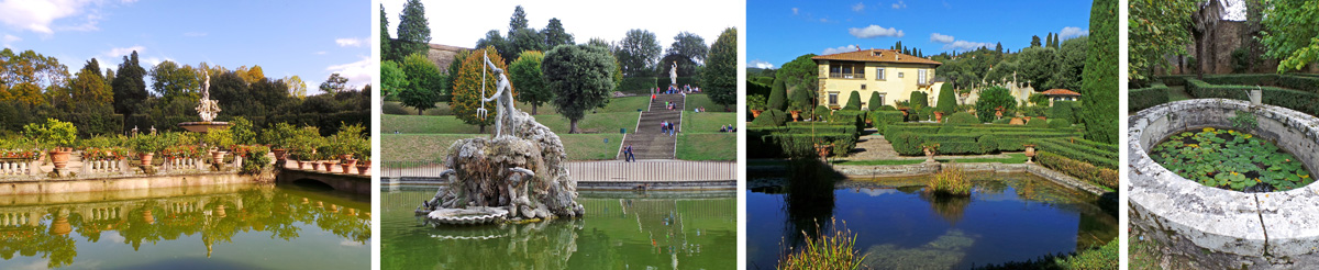 Water features range from the large Isolotto (L) and Forcone Pool (LC) at Boboli Gardens, to the small pond at Villa Gamberaia (RC) and a stone basin filled with water lilies at Villa Vico Bella (R).