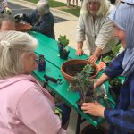 volunteers help plant containers