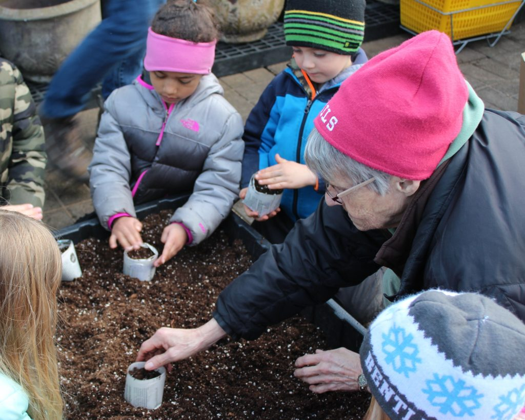 Kids and adult gardening