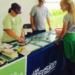 volunteers distributing information