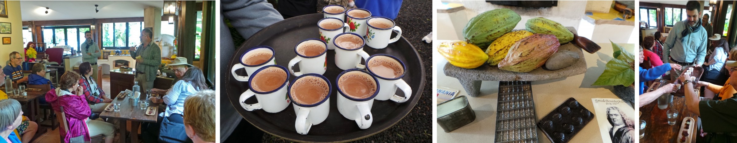 The group learning about chocolate (L); hot chocolate (LC) and cacao pods (RC) and George passing out samples (R).