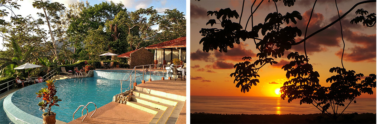 The pool at Vista Ballena (L) and sunset from there (R).