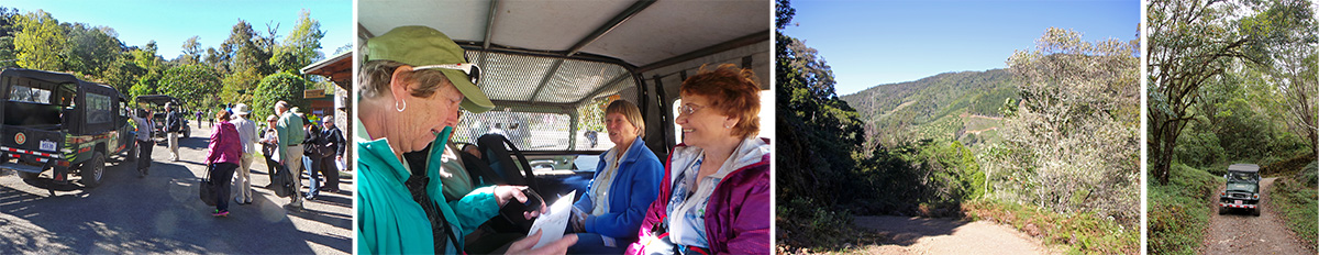 Getting into the 4WD vehicles at Savegre Lodge (L), Mary, Barb and Marilyn inside one vehicle (LC), looking back while driving up (RC), and on the road into the forest (R).