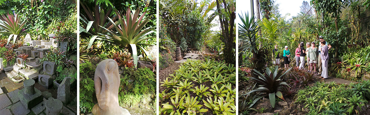 Scenes in the Terán garden and Ileana leading the group through the garden (R).