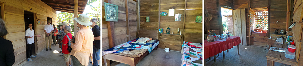 The front of the typical two-room Costa Rican house (L), inside the bedroom (C) and inside the kitchen (R).