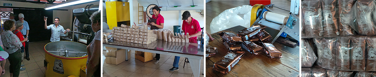 Ronnie discusses how the beans are roasted (L), workers packaging special coffee (LC), packages of coffee coming of conveyor belt from packaging machine (RC) and pallet of coffee ready for shipment (R).