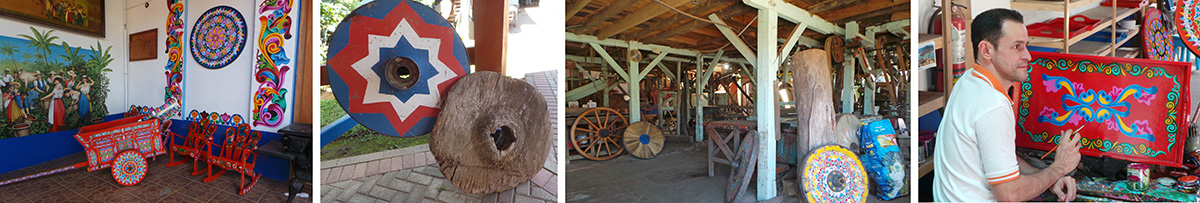 Oxcart and decorated walls (L), historic oxcart wheels on display (LC), woodshop (C), a painter at work (R).
