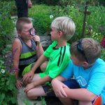 Kids exploring the garden