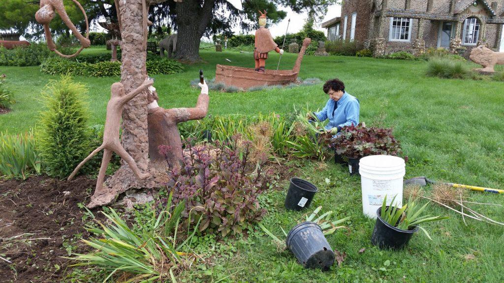 image of woman gardening
