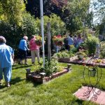 visitors strolling through a garden