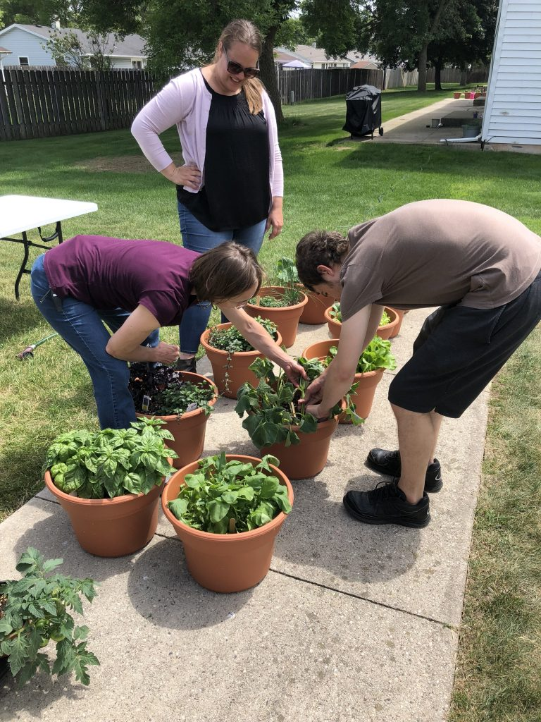 young adults gardening